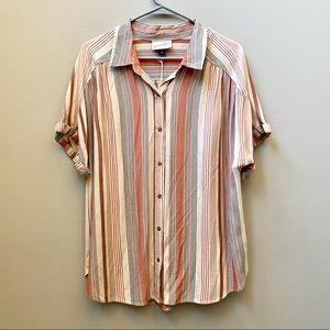 Universal Thread   striped Button Down Blouse